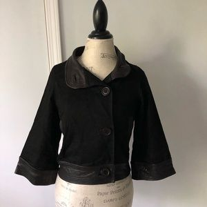 Leather Motorcycle Chic Collared Jacket Button
